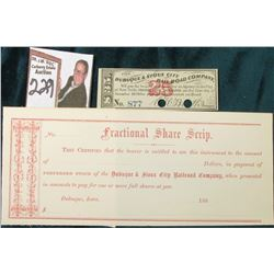 1860's Fractional Share Script, The Dubuque & Souix City Railroad Company Unissued Certificate & $35