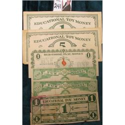 """Educational Toy Money Ideal School Supply Co. Chicago"" $1 & $5 Scrip; ""Educational Toy Money $1 Not"