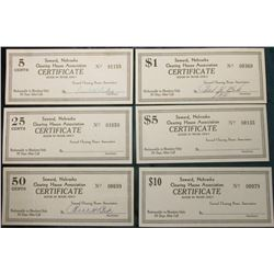 "1930 era Unlisted & Unknown Depression Scrip: 5c, 25c, 50c, $1, $5, & $10 ""Seward, Nebraska Clearing"