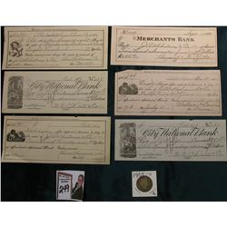 "1905 S Barber Quarter, G/AG, Redbook value $30 & Group of (6) Early Checks ""For Use in 29th Century"