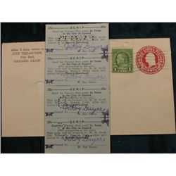 Original 1935 Oxnard, Ca. Postmarked and stamped Envelope, name cut-out, containing an original mint