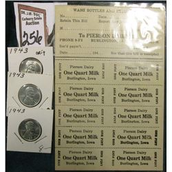 "Mint Sheet of (10) ""To Pierson Dairy, Dr. Phone 9-F3 Burlington, Ia Phone 2841-W… Date…...194… One P"
