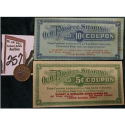 "Circa Panic of 1907 ""Ranney & Scellars Cigar Stores Co….Cedar Rapids, iowa"" 5c & 10c Coupons; & 1907"