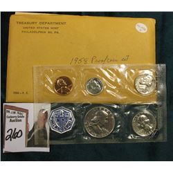 1958 Silver U.S. Proof Set in original envelope as issued.