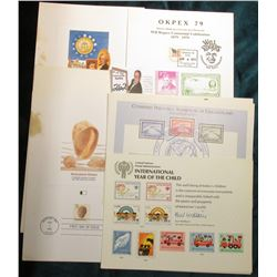 (6) Souvenir cards: OKPEX 79, (2) COMPEX 79, (3) International Year of the Child, & (3) Fleetwood Fi