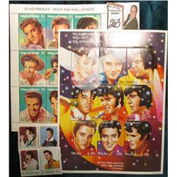 (2) Elvis Presley Stamp Sheets with miscellaneous stamps in brown box.