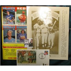 (1) 3000 club baseball sheet, Sheet of (4) 1986 Toppd Ball Cards, includes Dale Murphy, Pete Rose, B