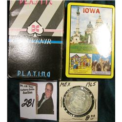 """Iowa"" Unopened pack of Playing Cards in original Souvenir Box & 1965 Brilliant Uncirculated Silver"