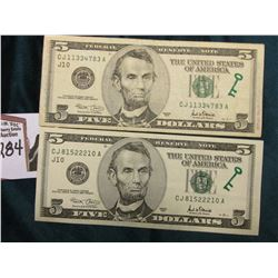"(2) Series 2001 $5 Federal Reserve Notes with obverse Green Key design stamp, reverse ""Bill Tracking"