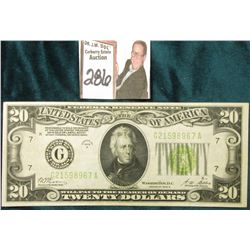 "Series 1928B $20 Federal Reserve note ""Redeemable in Gold…"", Microplate No. K45 and reverse micropla"