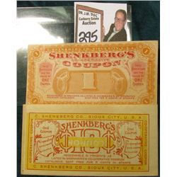 "Circa 1910 ""Shenkberg's Co-Operative (.10c & 1 Coupon)…C.Shenkberg Co. Sioux City, U.S.A."" (2 pcs.)"
