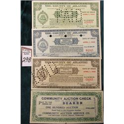 "$100 Auction Dollars""Community Auction Service Co….Omaha, Nebraska"", stamped ""Cash Value 1/10 Cent"","