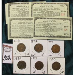 "1896-1900 Consecutive Date Indian Head Cents, VG-VF & (4) Different $3.00 Pay to Bearer Tickets ""Cal"