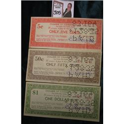 "1933 era Depression Scrip ""Chamber of Commerce Script Clay Center, Clay County, Kansas"" 5c, 50c, & $"