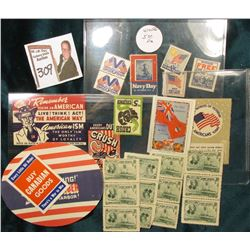 "Group of Stamps: """"Keep'Em Flying!"" REMEMBER Pearl Harbor""; ""Every Little Bit Helps BUY CANADIAN GOO"
