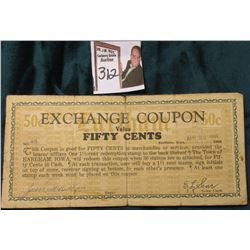 "Depression Scrip. ""Exchange Coupon Value No. 80 Fifty Cents Earlham, Iowa April 22, 1933, 1933, coup"