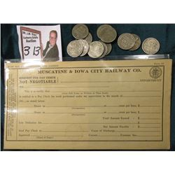 """Muscatine & Iowa City Railway Co. Request For Pay Check…"" Unissued; & (12) various World War II 'St"