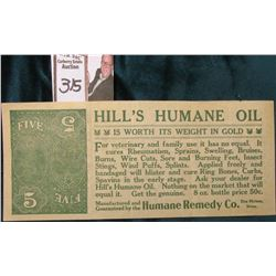 "Quack Doctor Currency. ""Hill's Humane Oil Is Worth Its Weight in Gold…Manufactured and Guaranteed by"