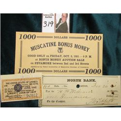 1000 Dollars 1000 Muscatine Bonus Money Good Only on Friday, Oct. 5, 1951…Sponsored by Retail Commit