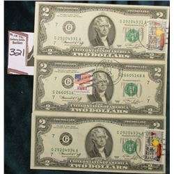 (3) Series 1976 $2 Federal Reserve Notes all stamped, and Cancelled with (2) Postmarked Apr 13, 1976