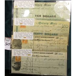 Set of (4)Drafts issued by the Quincy (Copper) Mining Co. for use in the isolated Keweenaw, Peninsul