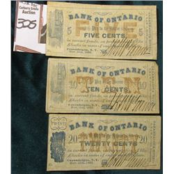 "Nov. 15th, 1862 5c, 10c, & 20c ""Bank of Ontario"" ""Cananadaigua, New York (3 pc. Set) 'Doc' stated on"
