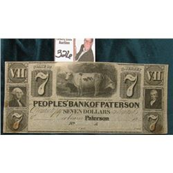 "18__ Seven Dollar ""Peoples' Bank of Paterson""  State of New Jersey, Broken Bank Note, either Unissue"