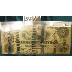 "Williamsburg, N.Y. Three Dollars Hole cancelled in several places ""COUNTERFEIT J.A.S. QUINNIPIACK BA"