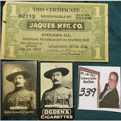 "July 1st, 1917 ""This Certificate 82113 Redeemable By Series 3500M Jaques Mg. Co. Chicago, Ill…""; (2)"