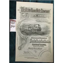"Early Vignette Advertising sheet ""Western Bank Note Company Chicago Incorporated 1864…Engravers & Pr"