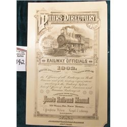 "Early Vignette Advertising sheet ""Poor's Directory Railway Officials 1892…Poor's Railroad Manual…70"
