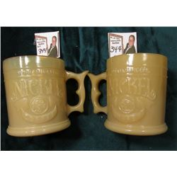 "(2) ""Whataburger Nickel Coffee"" Cream-colored Glass Coffee cups depicting the reverse of a Buffalo N"