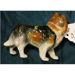 """Hand Decorated"" China Collie Dog. Japan. Sticker on back says ""Iowa State Fair 1854 Centennial 1954"