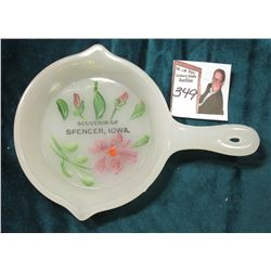 "Milk Glass Skillet ""Souvenir of Spencer, Iowa."" Hand-painted floral design. No chips or apparent dam"