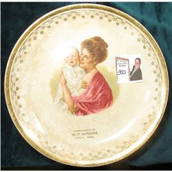 """D.B. McMord Pottery Co., East Liverpool, Ohio"" Gold-rimmed China Plate with picture of Mother and B"