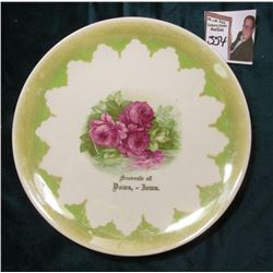 """C.P. & Co."" China Saucer ""Souvenir of/Dows, - Iowa."" Roses in central design."