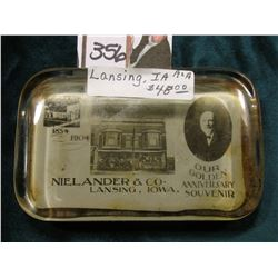 """Nielander & Co. Lansing, Iowa. 1854 1904 Our Golden Anniversary Souvenir"" Heavy lead glass paper we"