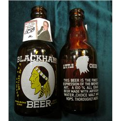 "(2) Amber colored bottles labeled ""Blackhawk Beer Rock River Brewing Co. Rockford, Ill…."", ""Little C"