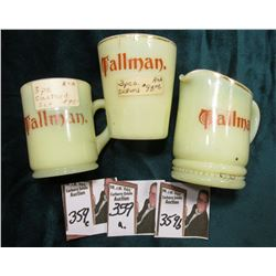 """Tallman"" Three-piece Custard Set, Milk glass."