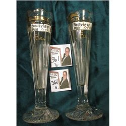"(2) 7"" Clear Glass Souvenir Rose Vases from ""Belview, Minn."" gold-trimmed."