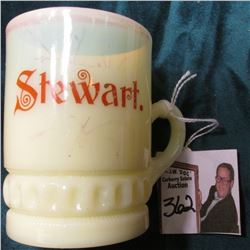 """Stewart."" (Minnesota or Nevada) Milk Glass  3"" Custard cup. 'Doc' originally valued at $48.00."