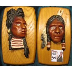 Pair of Wooden Indian Carved Wall Plaques, hand painted. Folk Art Carvings.