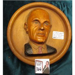 Calvin Coolidge Carved Wall Plaque, hand painted. Folk Art Carving.