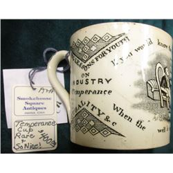 "Temperance Coffee Cup Mug ""Being Lessons For Youth on Industry Temperance Frugality & c"", ""If you wo"
