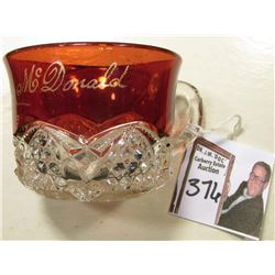 """Walter B.A. Mc Donald 1903"" Ruby Red Flash Tea Cup. In nice condition and measures approximately 2"""