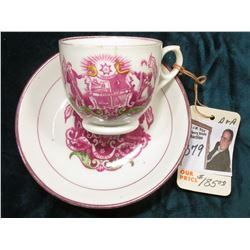 "Temperance Tea Cup & Saucer.  ""Sobriety Domestic Comfort Freedom Temperance"", ""Be Though Faithful Un"