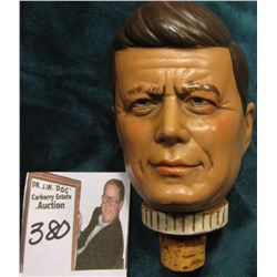 John F. Kennedy Wine Bottle Stopper for a liquor bottle, cork is in good condition.