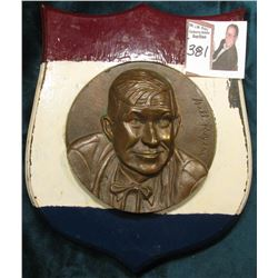 """Will Rogers"" Large Bronze Wall Plaque Medal mounted on a Wooden Red, White, and Blue Shield. None e"