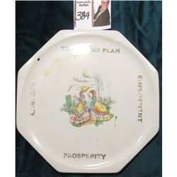 "1930 era octagonal China Plate ""Townsend Plan/Security/Employment/Prosperity"", Vintage 1930s tea ket"