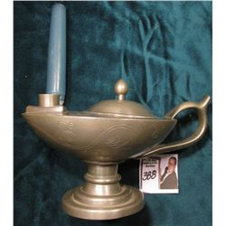 "Pewter ""Alladin's Lamp"" Style Candle holder with candle. Hole in base. 'Doc' valued it at $150.00."
